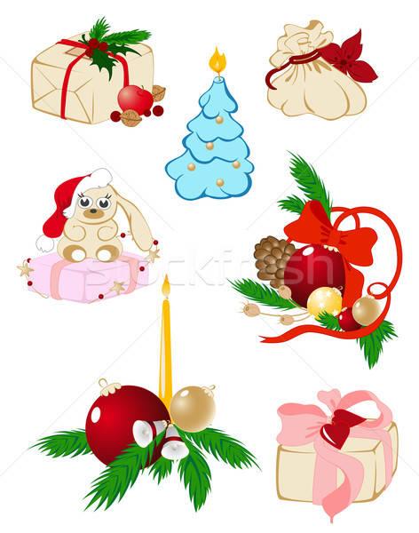 ストックフォト: セット · クリスマス · ベクトル · アイコン · キャンドル