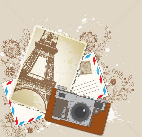 Stok fotoğraf: Eski · kamera · vektör · fotoğraf · arka · plan · seyahat
