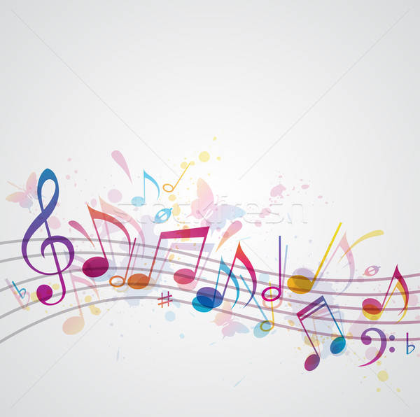 Zene pillangók vektor hangjegyek pillangó háttér Stock fotó © Artspace