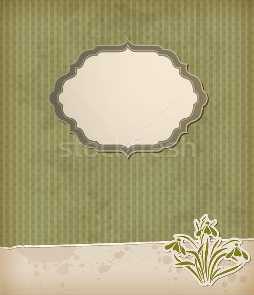Green background with snowdrops Stock photo © Artspace