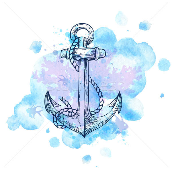 Anchor and blue watercolor blots. Stock photo © Artspace