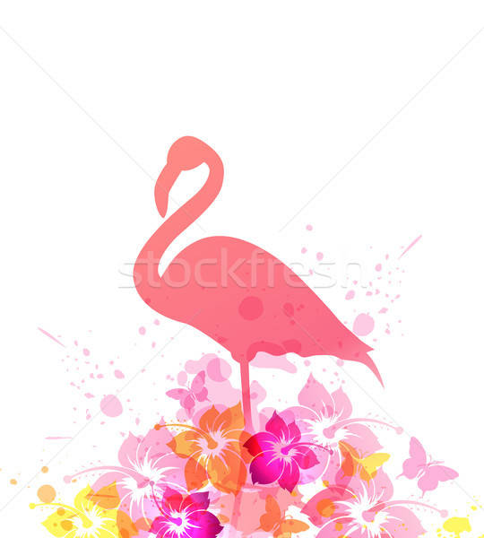 Summer background with pink flamingo Stock photo © Artspace