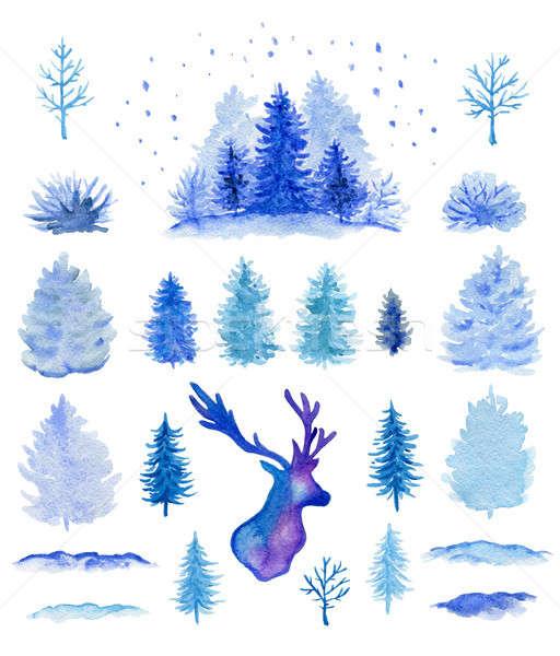 Mavi suluboya Noel dizayn elemanları ayarlamak Stok fotoğraf © Artspace