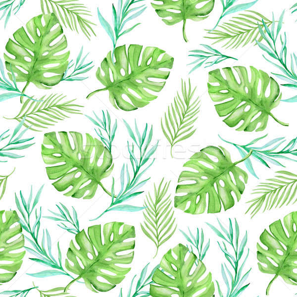 Watercolor floral summer tropical seamless pattern Stock photo © Artspace