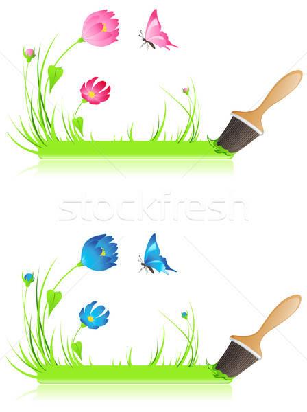 Zöld szalag ecset fű pillangó virágok Stock fotó © Artspace