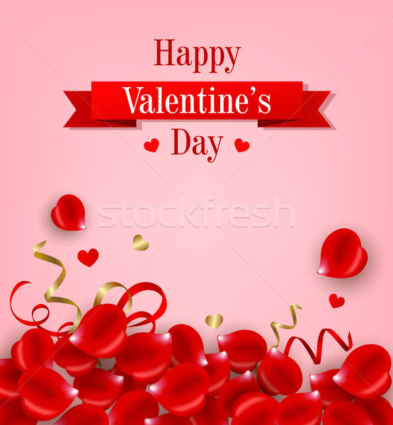 Card with red rose petals Stock photo © Artspace