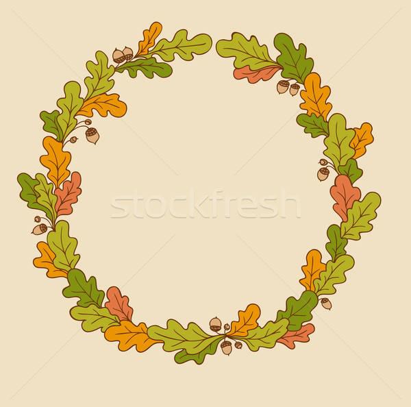 Сток-фото: венок · дуб · листьев · декоративный · вектора · осень