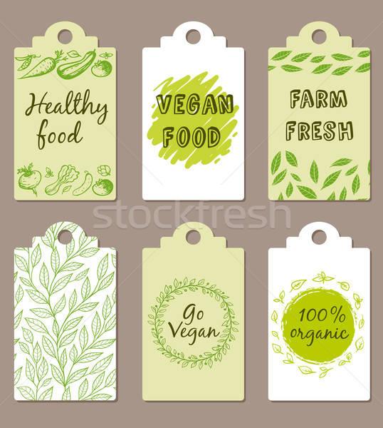 Vegetáriánus étel jelvények szett zöld vektor étel Stock fotó © Artspace