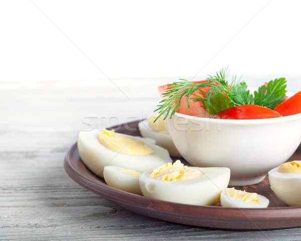 Gallina huevos arcilla plato Foto stock © Artspace