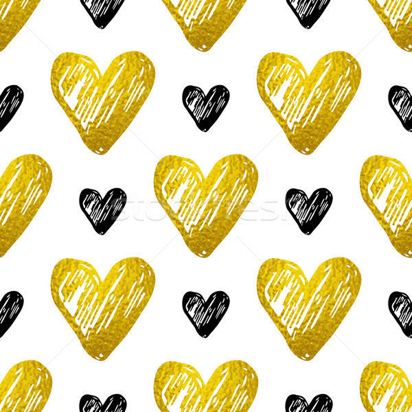 Pattern with golden and black hearts Stock photo © Artspace
