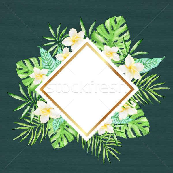 Virágok pálmalevelek zöld vízfesték trópusi virágmintás Stock fotó © Artspace
