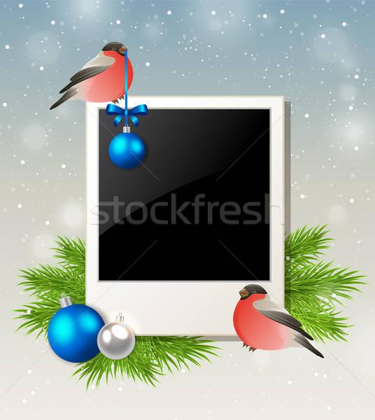 Christmas background with bullfinch Stock photo © Artspace