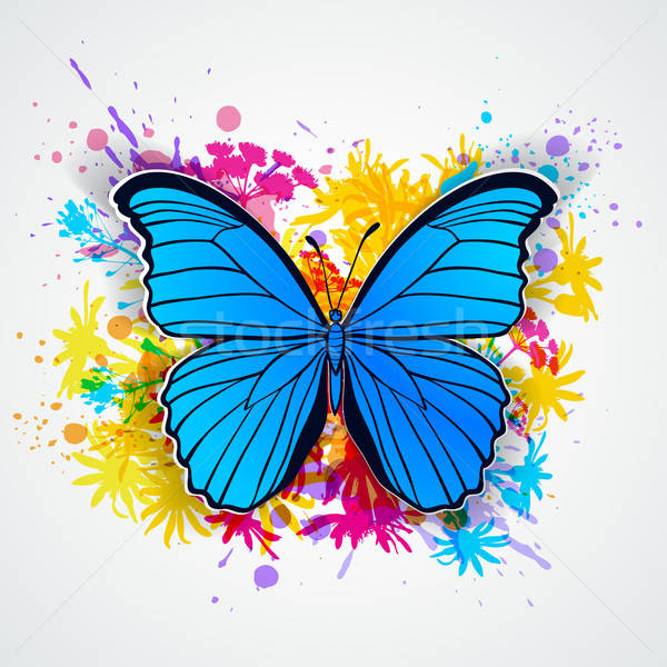 Blue butterfly and blots Stock photo © Artspace