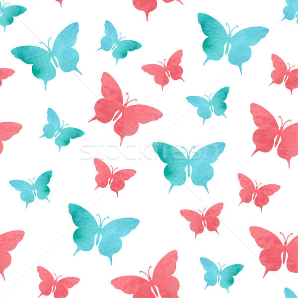 Foto stock: Aquarela · borboleta · padrão · abstrato · vermelho