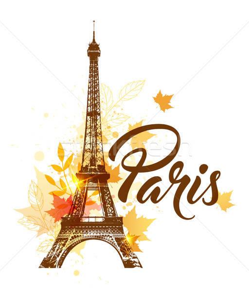 Sonbahar Paris vektör Eyfel Kulesi akçaağaç yaprakları Stok fotoğraf © Artspace