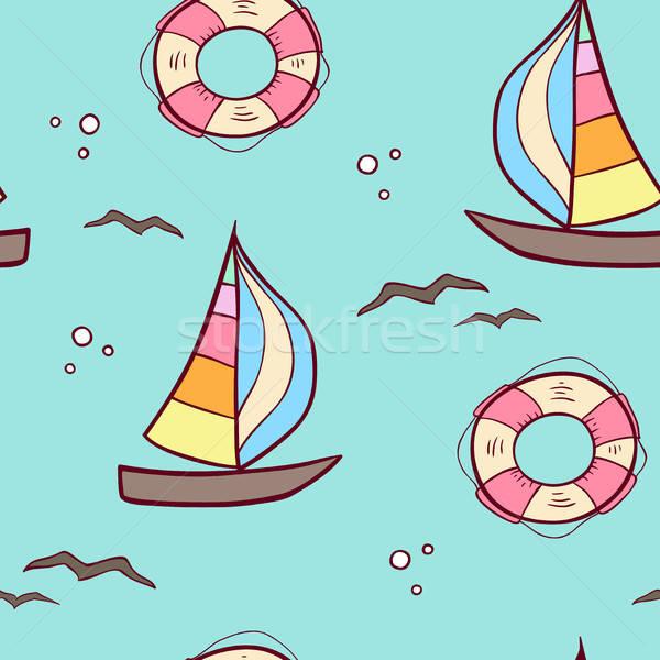 Patroon zeilschip doodle zee zomer Stockfoto © Artspace