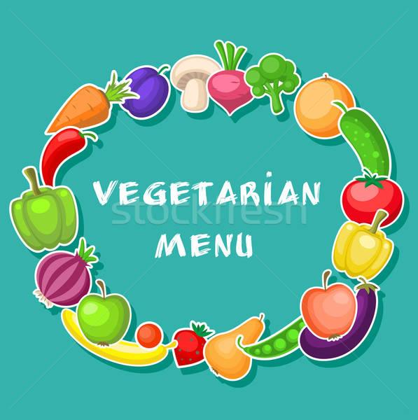 Gyümölcsök zöldségek zöld vegetáriánus étel terv Stock fotó © Artspace