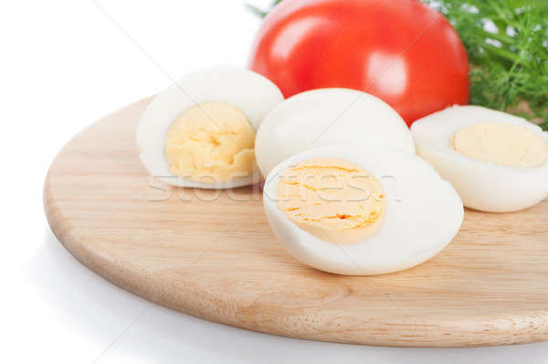 Boiled hen eggs and tomato Stock photo © Artspace