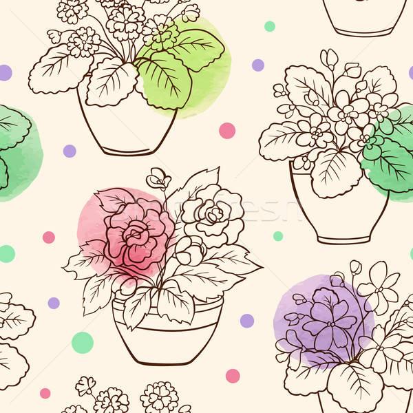 Seamless pattern with houseplants Stock photo © Artspace