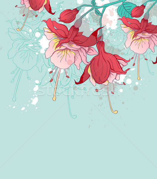 Abstract green background with red flowers Stock photo © Artspace