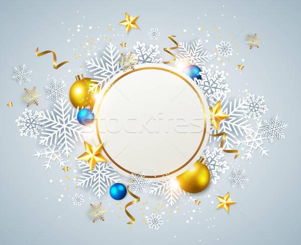 ストックフォト: 抽象的な · クリスマス · バナー · ベクトル · 休日 · 白