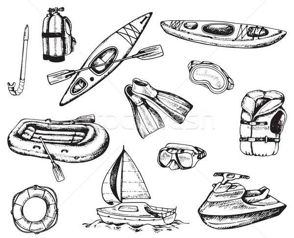 Agua deporte viaje iconos dibujado a mano Foto stock © Artspace
