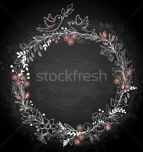 Stockfoto: Frame · bloemen · zwarte · decoratief · vogels · voorjaar
