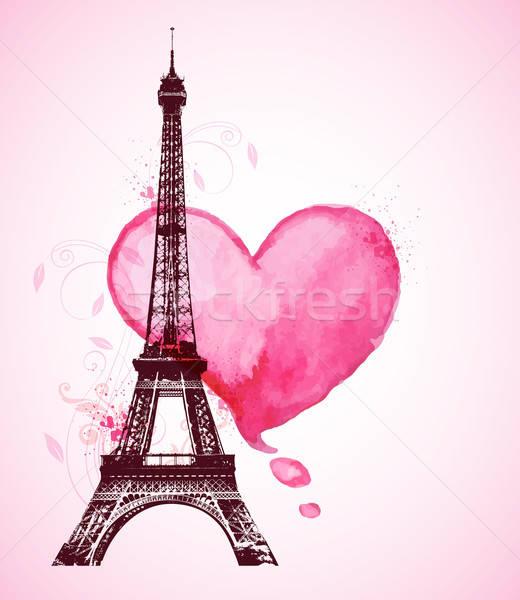 Suluboya kalp Eyfel Kulesi romantik valentine kırmızı Stok fotoğraf © Artspace