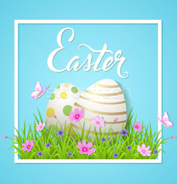 Easter card with eggs and cosmos flowers Stock photo © Artspace