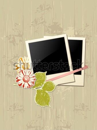 Foto stock: Photo · frame · grunge · coração · flor · dia · dos · namorados · fundo