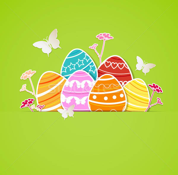 Green Easter background with eggs Stock photo © Artspace