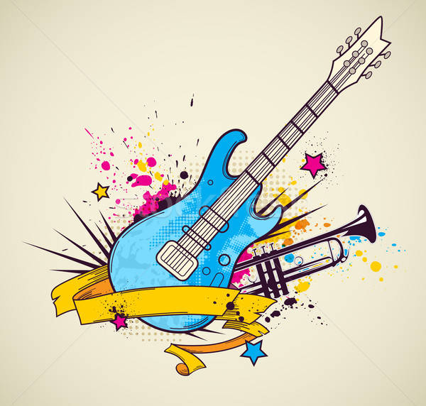 Background with electric guitar and trumpet Stock photo © Artspace