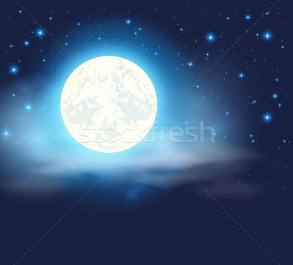 Ciel de la nuit pleine lune étoiles lumière design lune Photo stock © Artspace