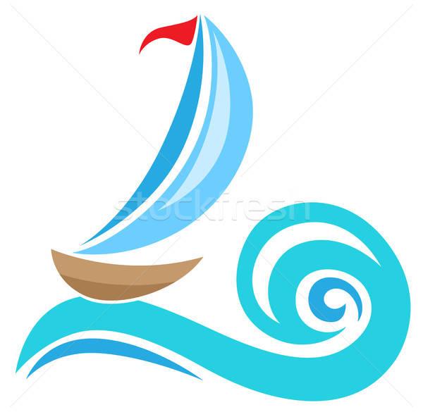 Zeilschip icon vector Blauw golf reizen Stockfoto © Artspace