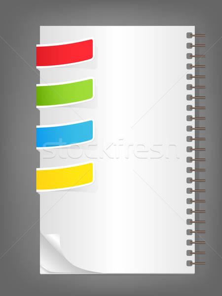 ноутбук пустая страница вектора цвета закладки бумаги Сток-фото © Artspace