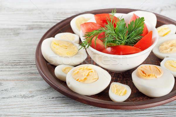 めんどり 卵 赤 トマト 粘土 ストックフォト © Artspace