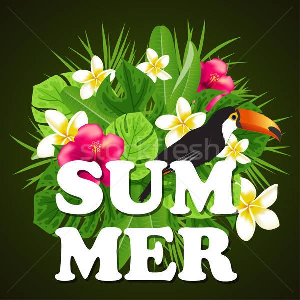 Dekoratív nyár piros trópusi virágok zöld Stock fotó © Artspace