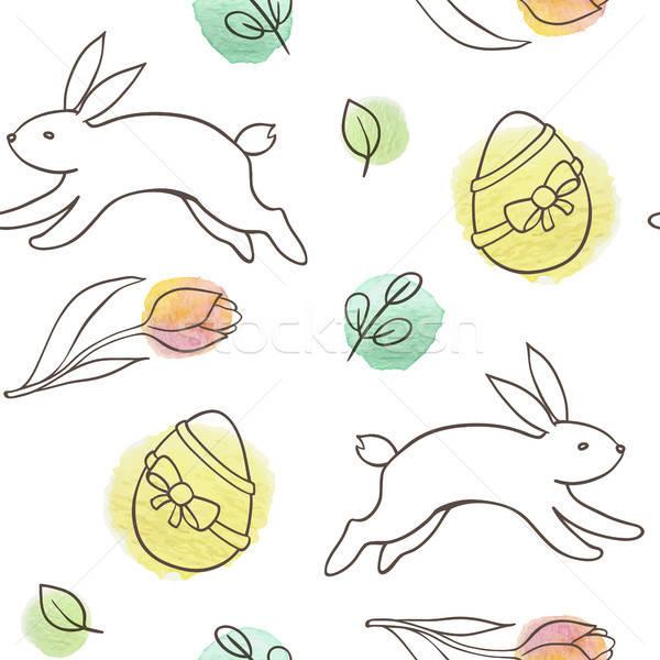 Пасха кролик яйца рисованной болван Сток-фото © Artspace