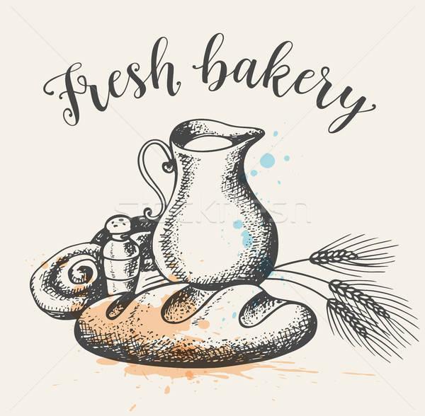 Fresh bakery produkts and jug of milk Stock photo © Artspace