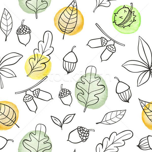 ősz végtelen minta tölgy levelek firka fehér Stock fotó © Artspace