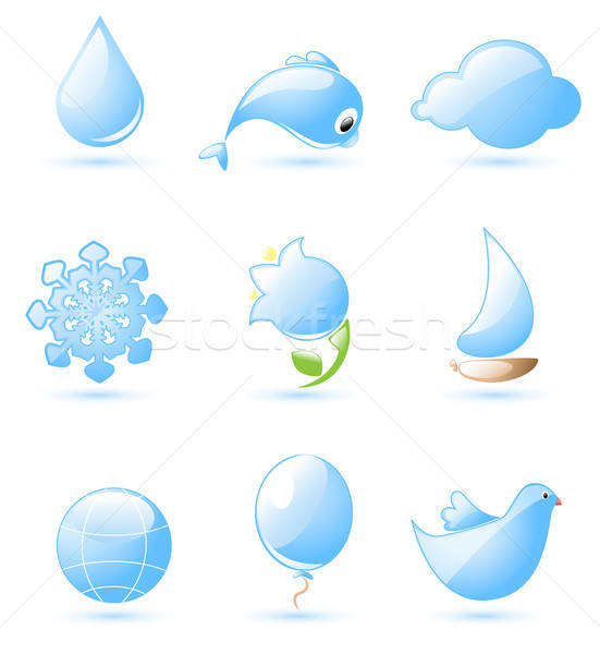 Blue glossy nature icons Stock photo © Artspace