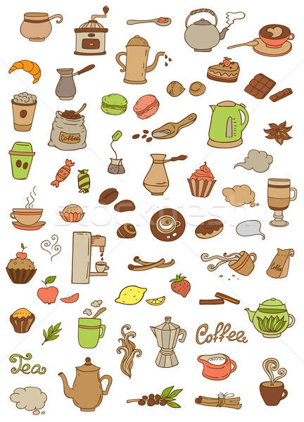 Coffee and tea icons Stock photo © Artspace