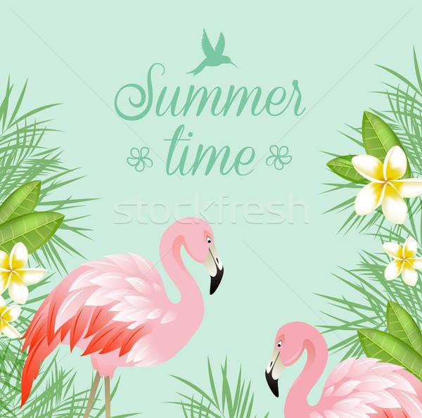 Virágok rózsaszín flamingó trópusi zöld vektor Stock fotó © Artspace