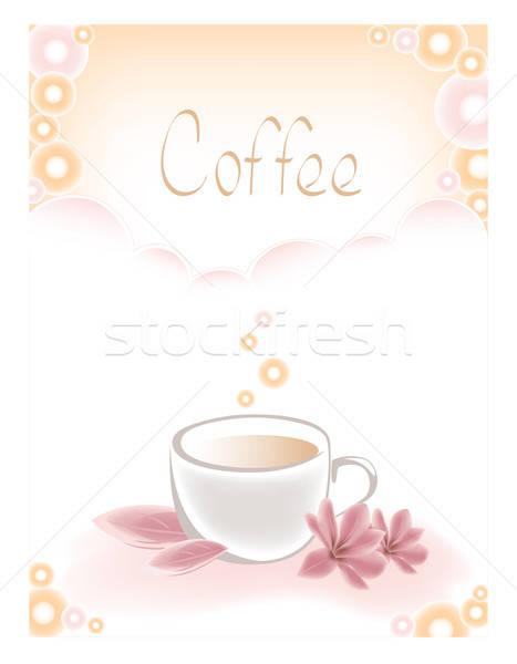 Stock fotó: Csésze · kávéscsésze · kávé · rózsaszín · virágok · étel
