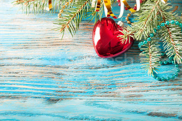 Red Christmas decorations and fir branch Stock photo © Artspace