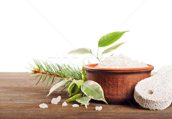Aromatic bath salt and pumice stone Stock photo © Artspace