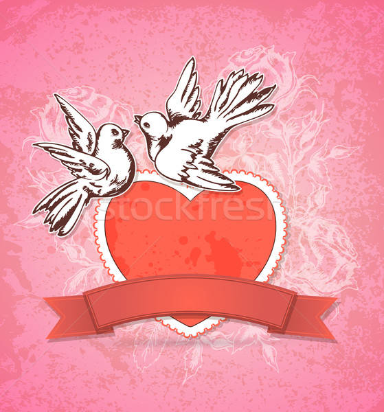 Two white doves and red heart Stock photo © Artspace
