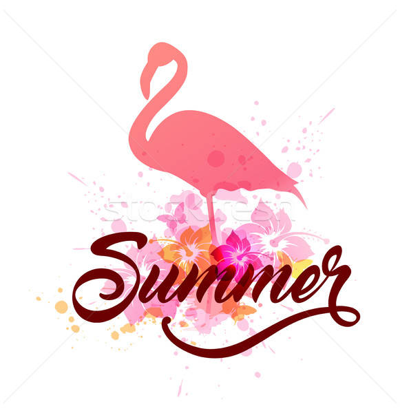 Pink flamingo and lettering Stock photo © Artspace