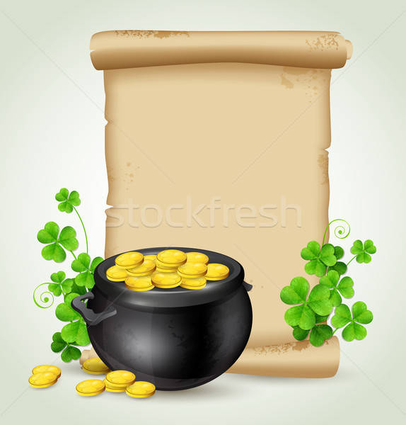 Old scroll, pot of gold and clover leaves Stock photo © Artspace