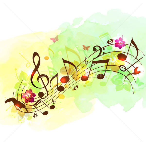Abstract music background with notes Stock photo © Artspace